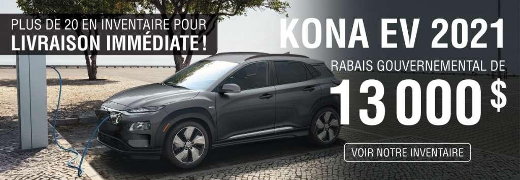 Kona EV 2021 – Rabais Gouvernemental de 13 000 $