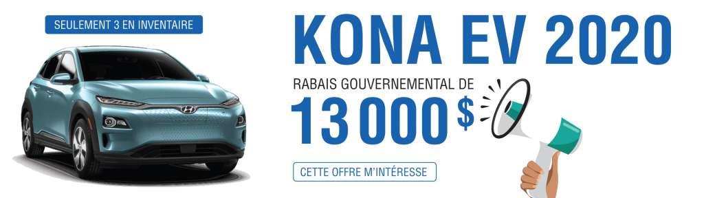 Kona EV 2020 – Remise de 13 000 $